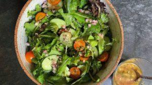 Salad with schmaltz dressing