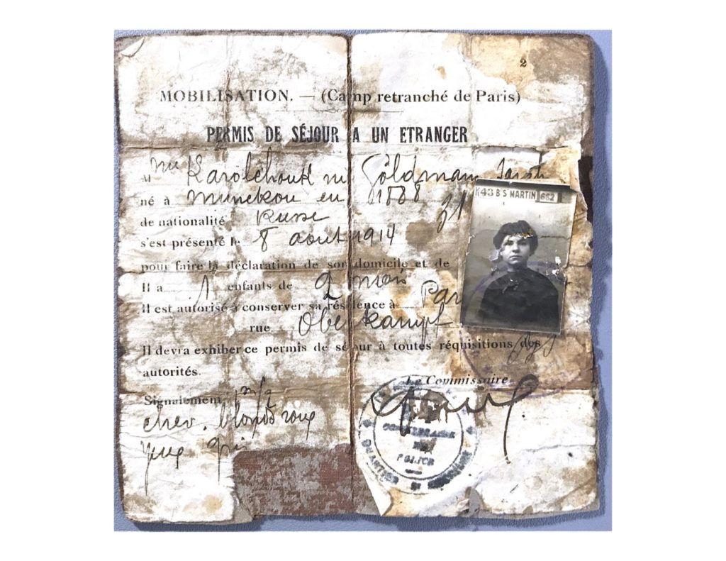 The author's grandmother's French residence permit from 1914