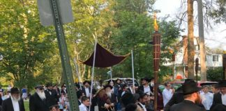 Members of Chabad of Park Heights celebrate the arrival of their new Torah scroll
