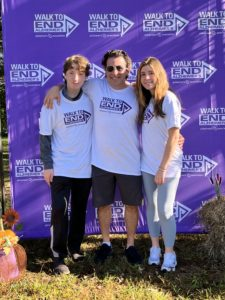 From right: Lara Shein with father Josh Shein and brother Max Shein at the Ellicott City Walk to End Alzheimer's, Sept. 25, 2021.