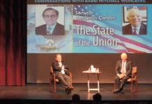 From left: Rabbi Mitchell Wohlberg and Senator Ben Cardin